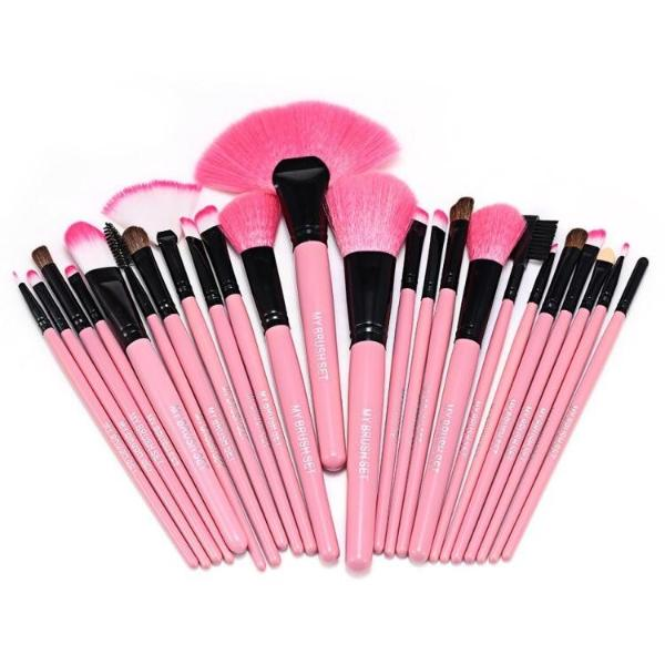 24 Piece Pink Glory Brush Set with Free Case , Make Up Brush - MyBrushSet, My Make-Up Brush Set  - 4
