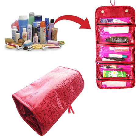 Roll 'n' Go Travel Cosmetic Bag - Black or Red