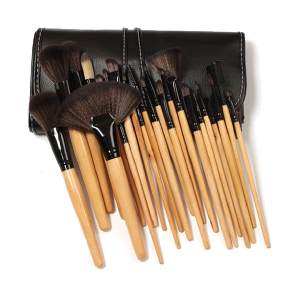 32 Piece Wooden Makeup Brush Set in Vegan Leather Case