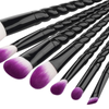 7 Piece Pro Black Unicorn Brush Set