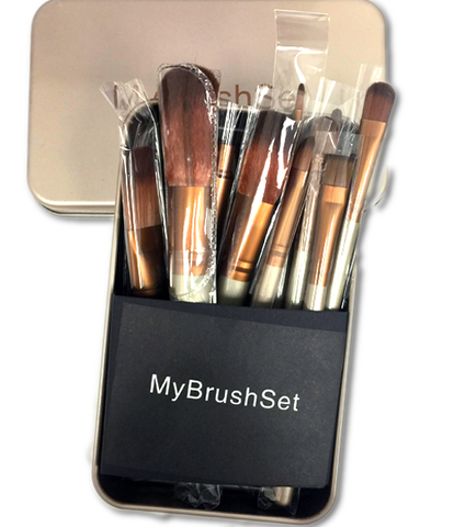 12 Piece Bronze Brush Set , Make Up Brush - My Make-Up Brush Set, My Make-Up Brush Set  - 4