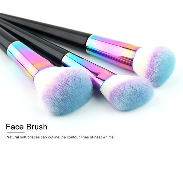 7 Piece Black Rainbow Brush Set