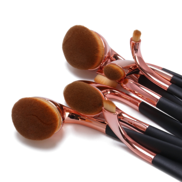 9 Piece High Shine Oval Brush Set