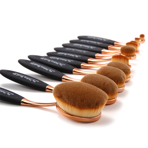 10 Piece Black and Gold Oval Brush Set ,  - My Make-Up Brush Set, My Make-Up Brush Set  - 2