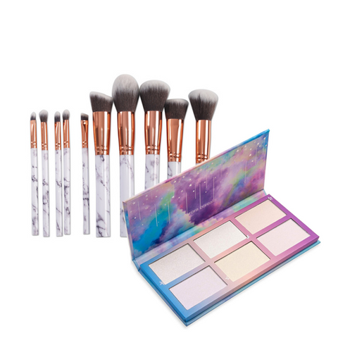 BOGO Buy One Get One Free: 10 Piece Marble Set + Highlight Palette