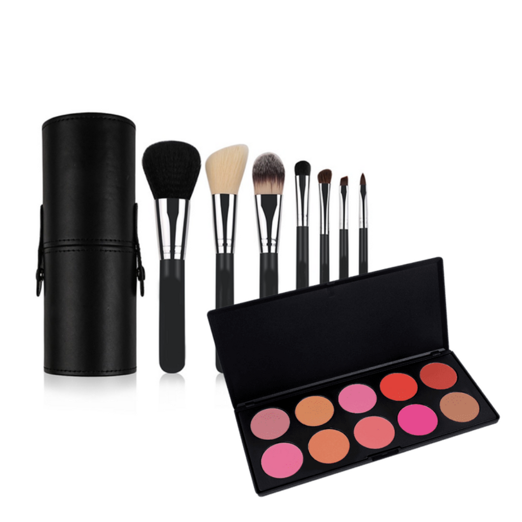 BOGO Buy One Get One Free: 7 Piece Set + 10 Color Blush Palette Bundle