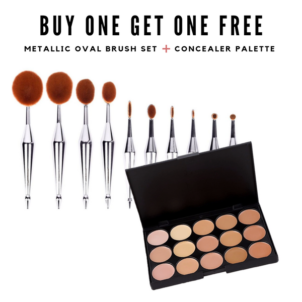 BOGO Buy One Get One Free: Metallic Oval Set + Concealer Palette Bundle