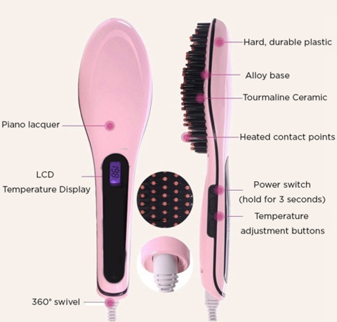 Ceramic Hair Straightening Brush , Makeup Brush - My Make-Up Brush Set, My Make-Up Brush Set  - 7
