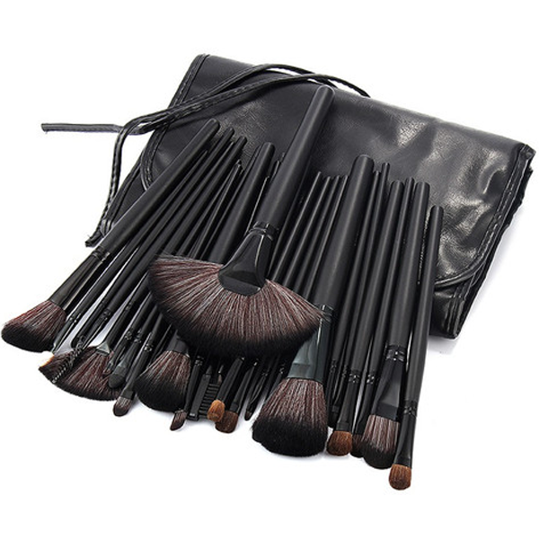 32 Piece Black Brush Set in Vegan Leather Case