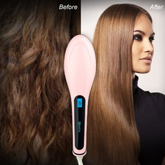 Ceramic Hair Straightening Brush + FREE A Matte Liquid Lipstick