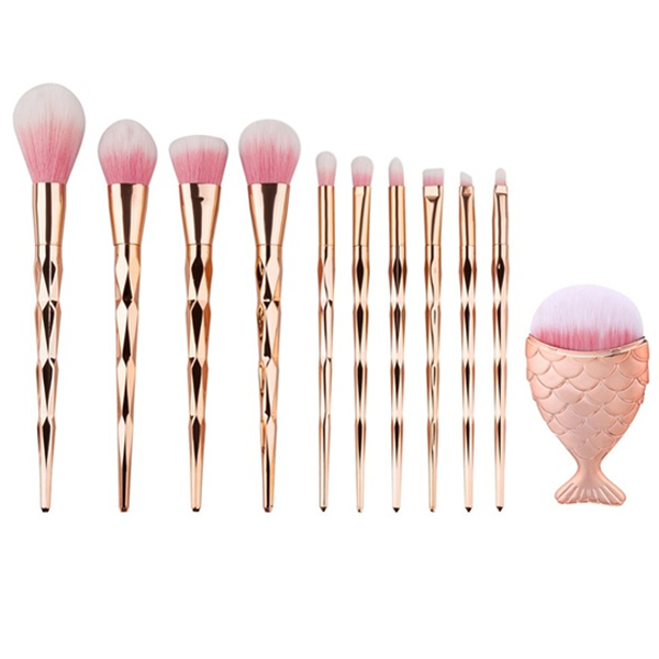 11 Piece Gold Jewel Mermaid Brush Set