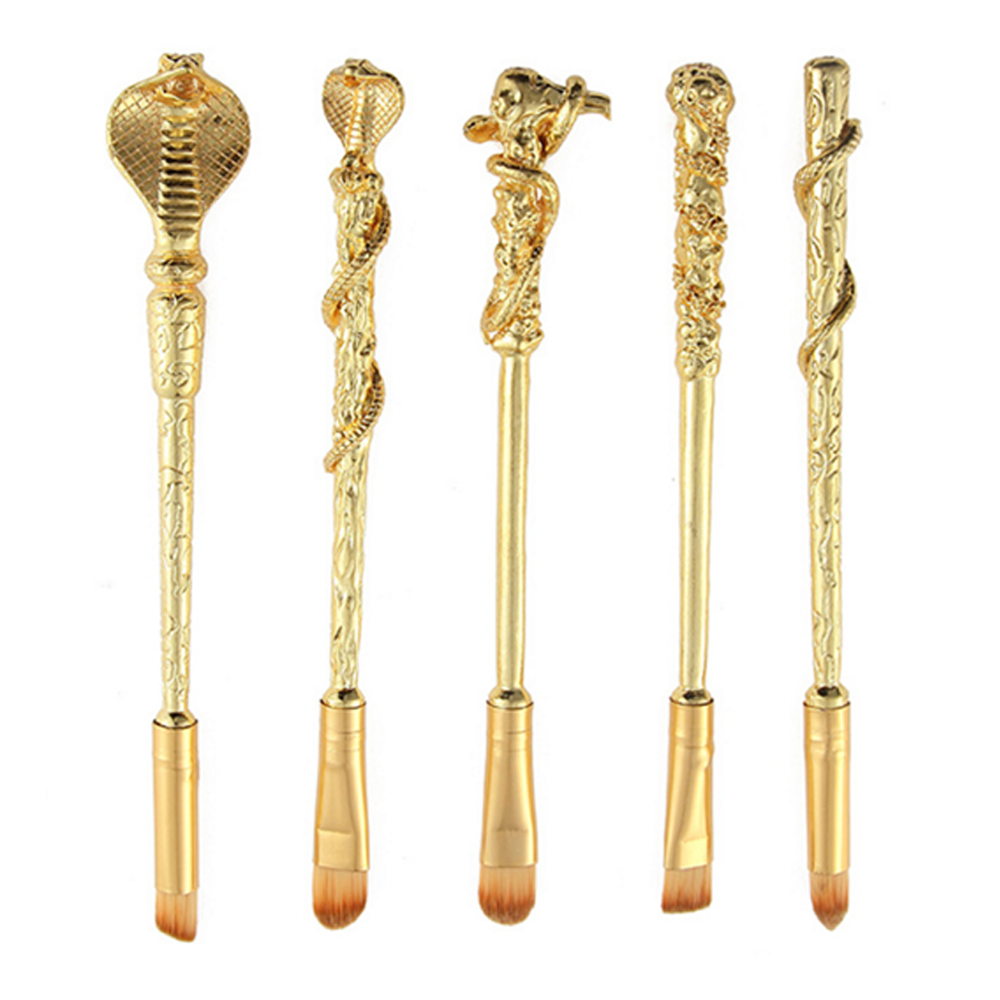 5 Piece Magic Potter Gold Inspired Brush Set