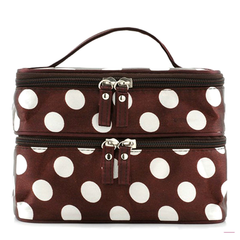 Polka Dot Make Up Bag Brown, Make Up Brush - MyBrushSet, My Make-Up Brush Set  - 1