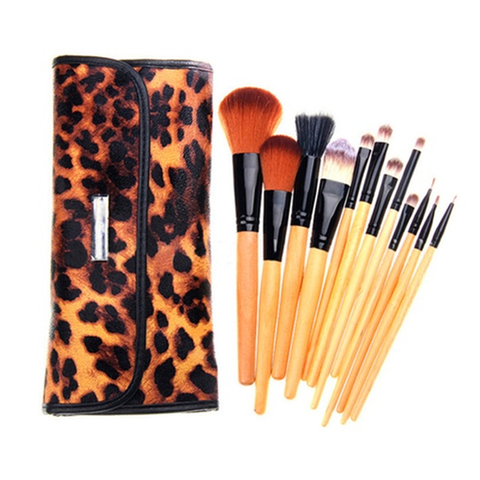 12 Piece Cheetah Skin Brush Set