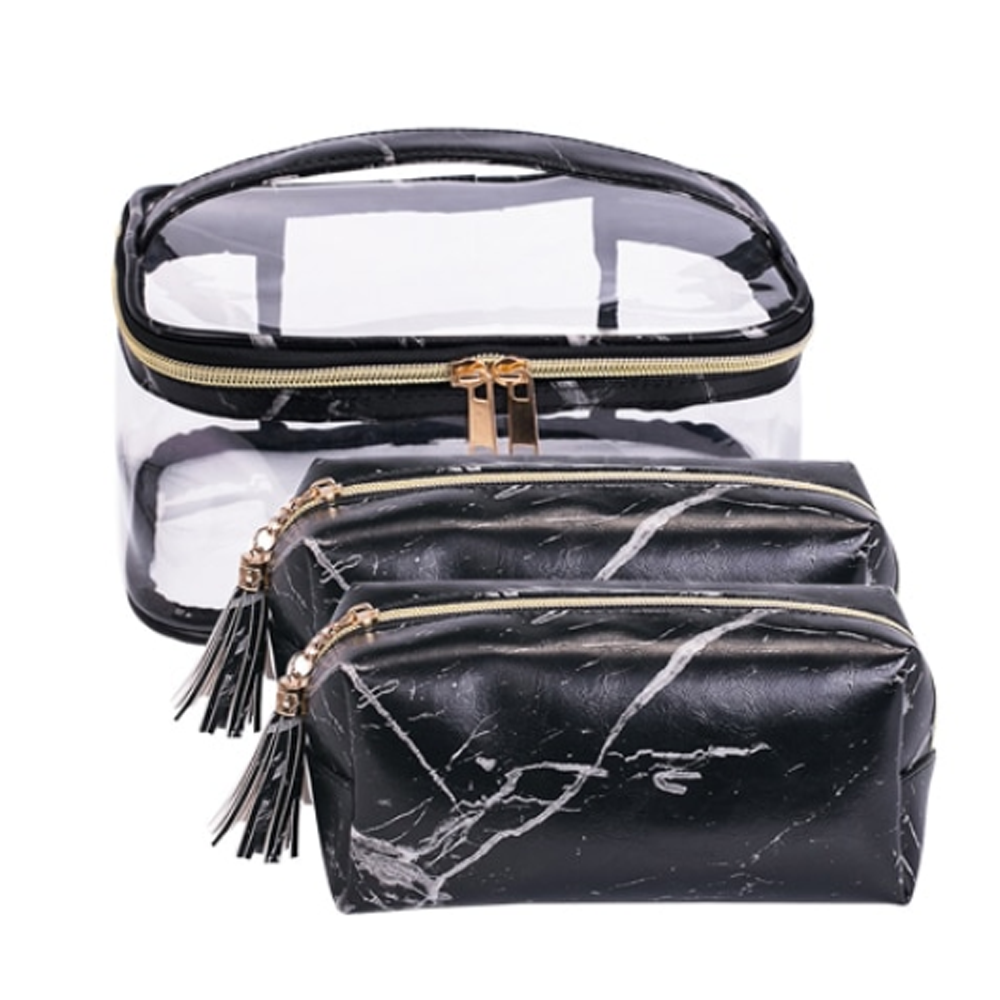 3 Piece Marble Travel Cosmetic Case