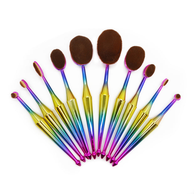 10 Piece Oval Mermaid Brush Set