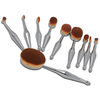 10 Piece Metallic Silver Oval Brush Set ,  - My Make-Up Brush Set, My Make-Up Brush Set  - 3