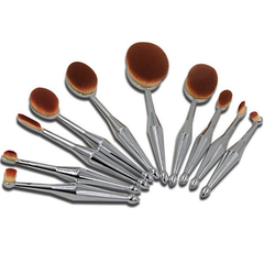 10 Piece Metallic Silver Oval Brush Set ,  - My Make-Up Brush Set, My Make-Up Brush Set  - 2