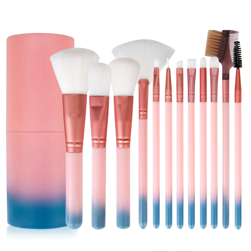 12 Piece Pink Ombre Makeup Brush Set
