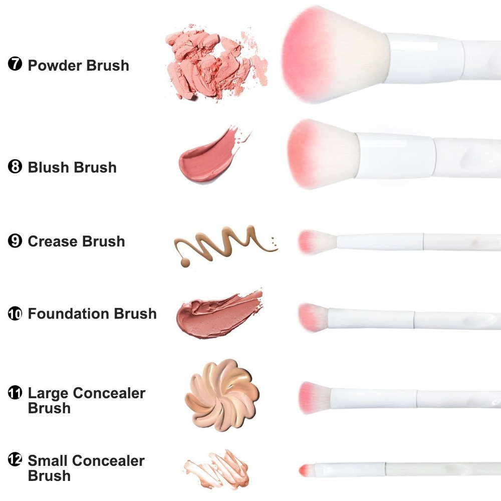 17 Piece Matte White & Pink Brush Set