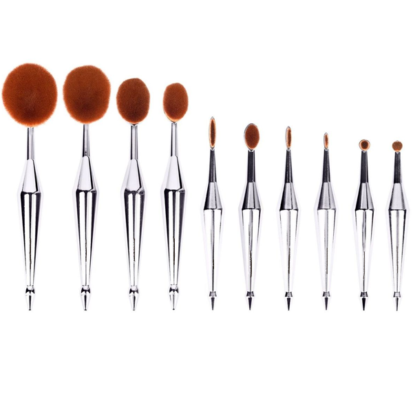 10 Piece Metallic Silver Oval Brush Set