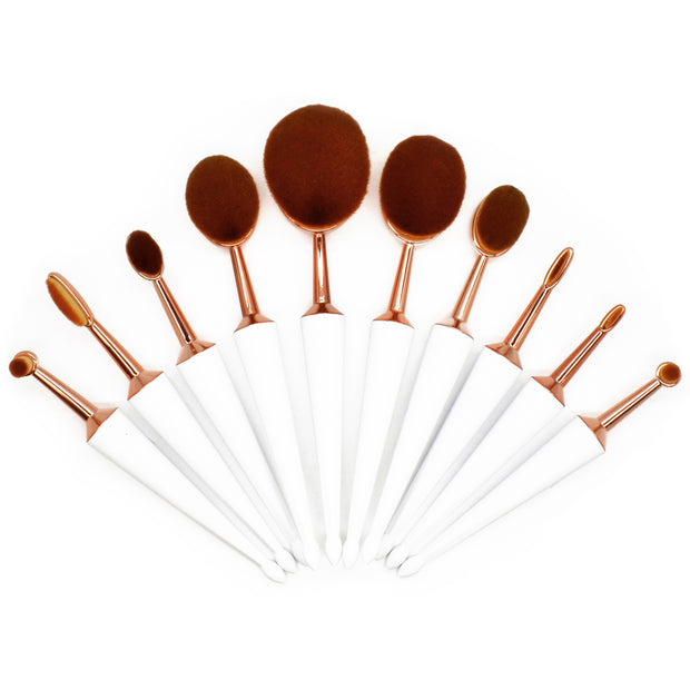 10 Piece Umbrella Cut Oval Brush Set