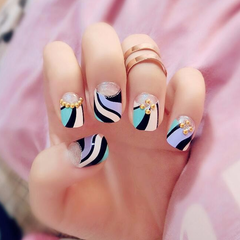 Double Striped Fake Nails