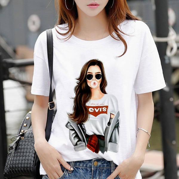 New women's white Tshirt Harajuku Beauty blowing bubbles printed T Shirt vogue pretty girl clothing Leisure female T-shirt Tops