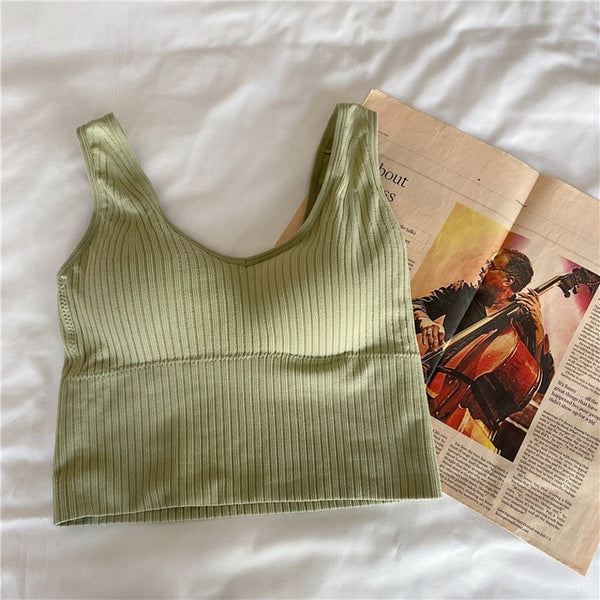 Woman Knitted Tank Top Women Strap Vest Sexy Female Knitting Crop Top Dropshipping