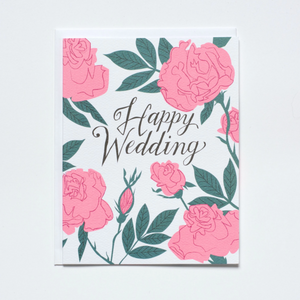 Pastel Neon Roses - Happy Wedding Card