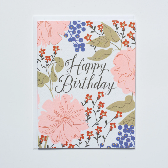 Peachy Floral Happy Birthday Card