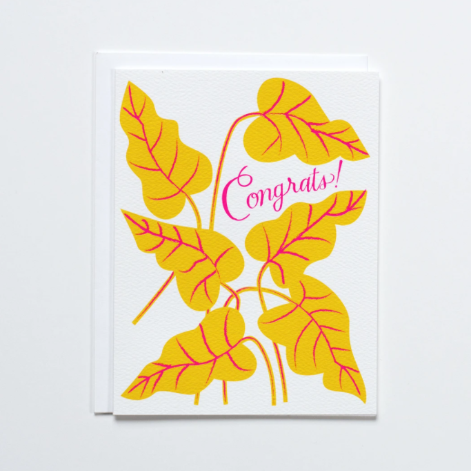 Yellow and Neon Pink Congrats! Leaves Card