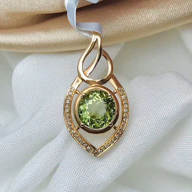 SGARIT new style girl daily wearing gemstone jewelry 18k gold 2.11ct natural green tourmaline pendant for necklace