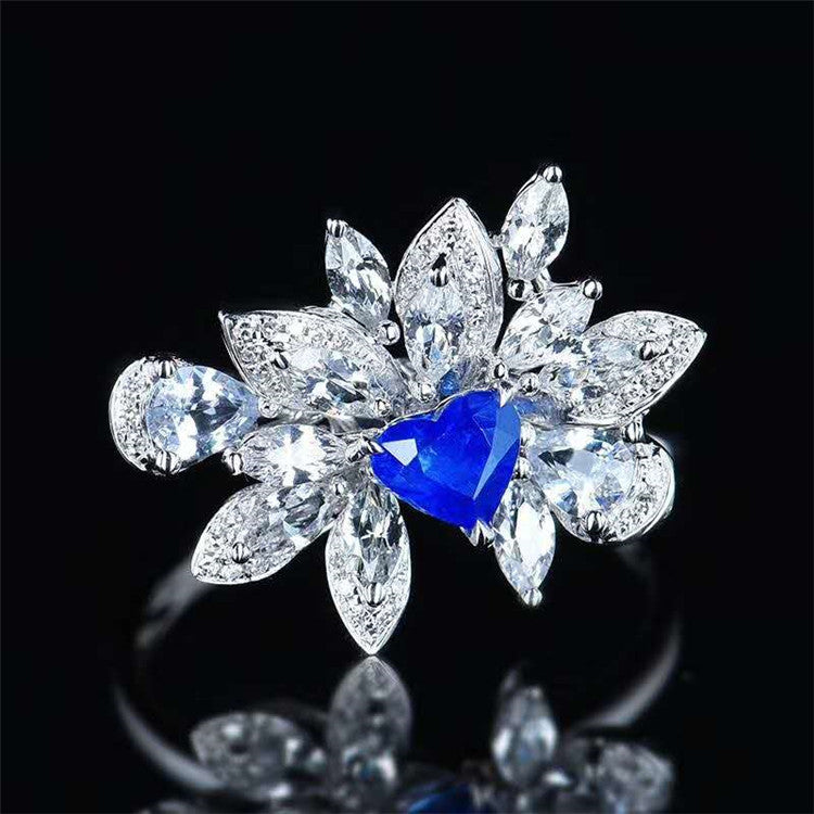 bohemian hyperbole Sri Lanka 0.58ct royal blue ring 18k gold