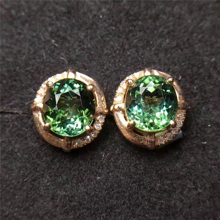 18k gold 1.9ct natural green tourmaline stud earring
