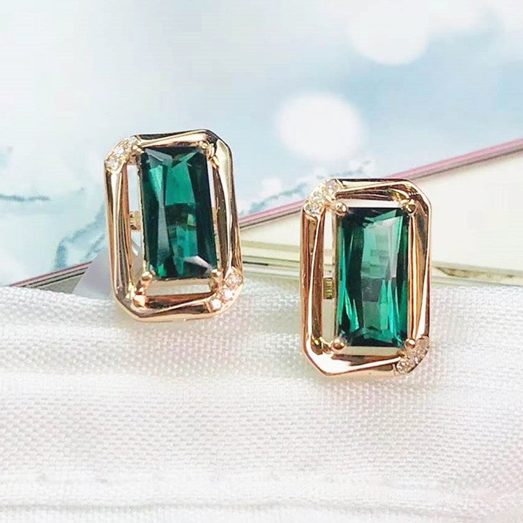 18k gold stud earring 1.91ct natural green tourmaline Earrings