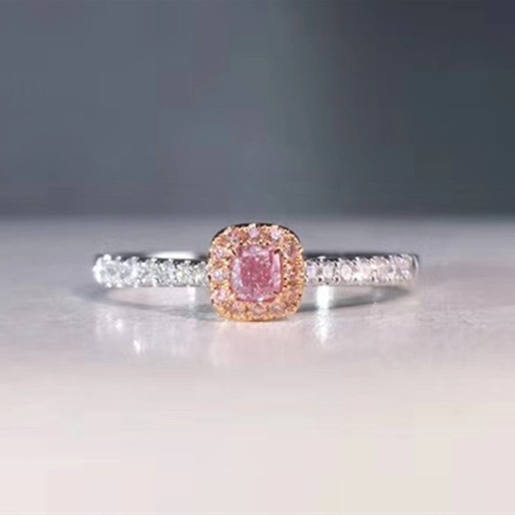 hot sale classic wedding diamond jewelry women 18k gold 0.1/ 0.088/ 0.083/ 0.108ct natural pink diamond ring