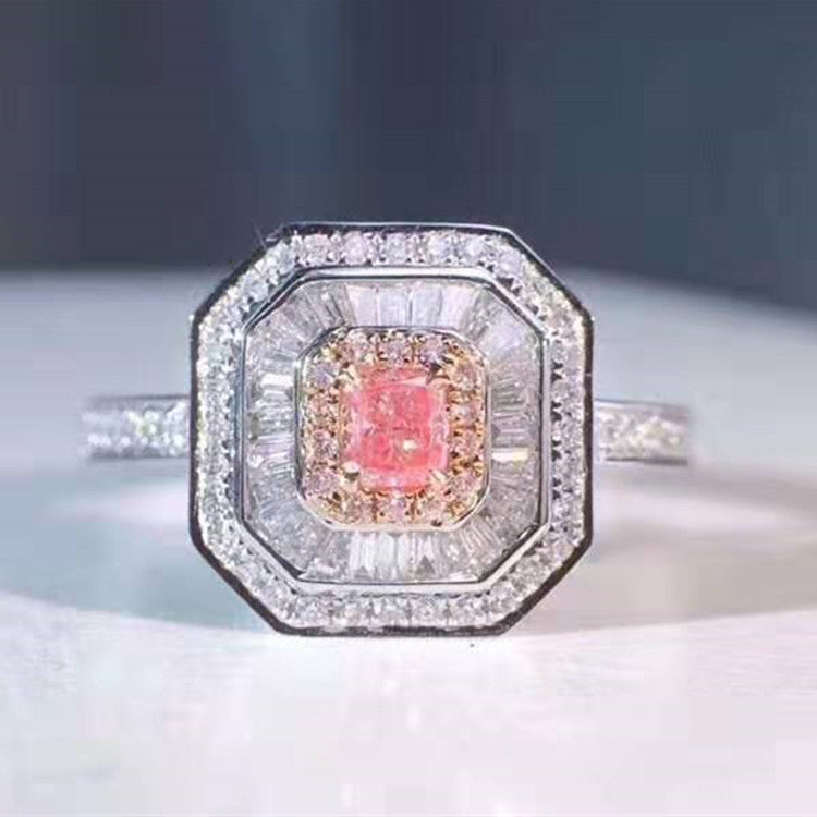 luxury elegant diamond jewelry women 18k gold 0.149/0.152/0.183ct natural pink diamond ring