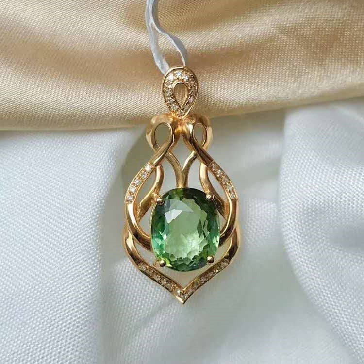 SGARIT new gemstone jewelry design model 3.95ct natural green tourmaline stone pendant for 18k gold necklace