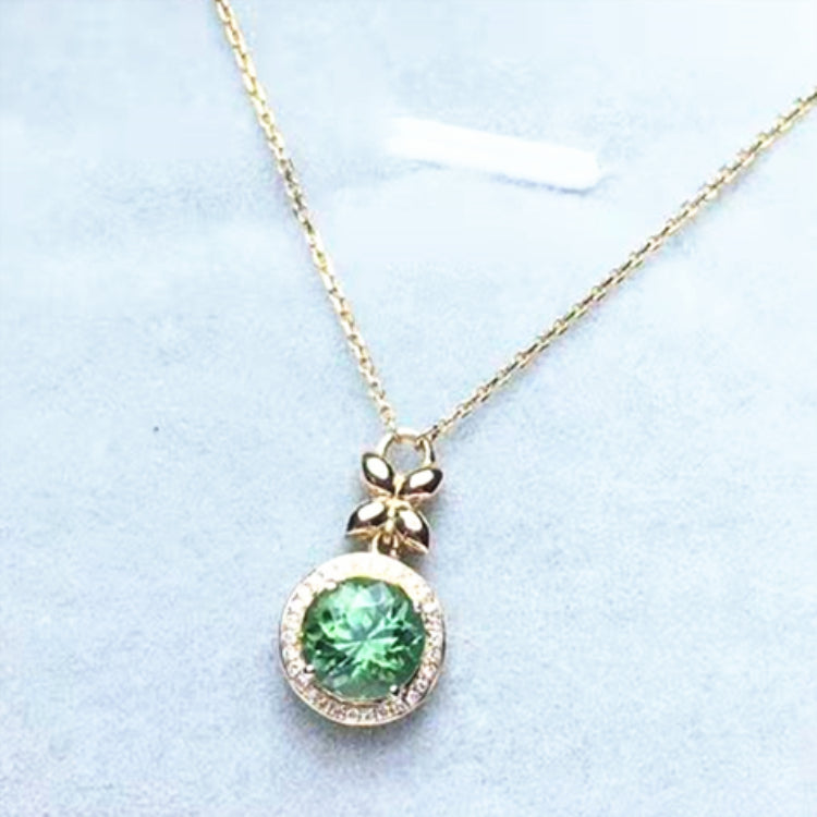 1.2ct Round Shape Green Natural Tourmaline 18k Gold Pendant Necklace