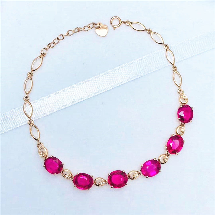 18k gold gemstone bracelet 4.98ct natural red tourmaline chain bracelet