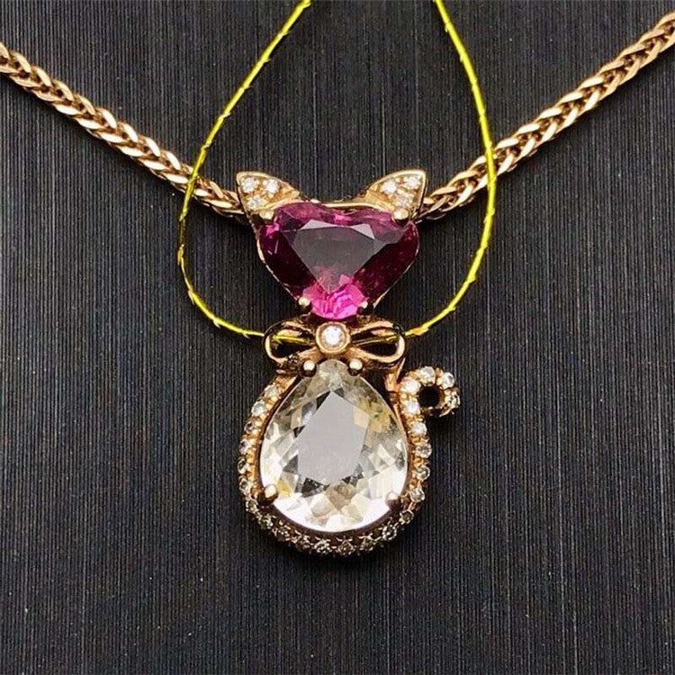 18k gold South Africa real diamond 1.6ct natural colorful tourmaline lovely little cat shape necklace pendant for women
