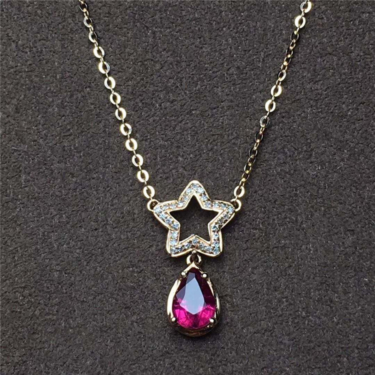 Popular Bridal 18k Gold Fine Jewelry Red Gemstone Star Pendant 0.6ct Natural Brazil Tourmaline Necklace