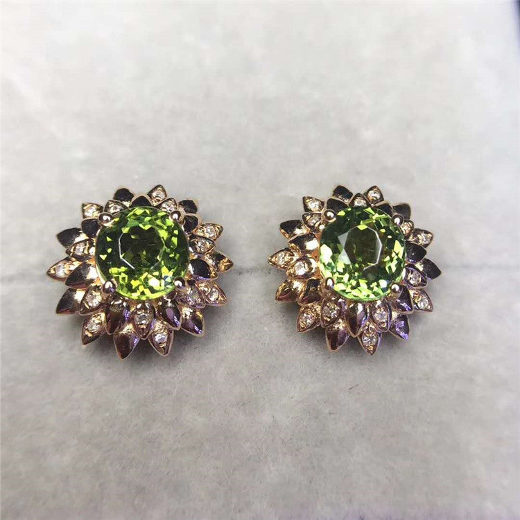 Fashion Flower 18k gold South Africa real diamond 1.85ct natural green tourmaline gemstone stud earrings
