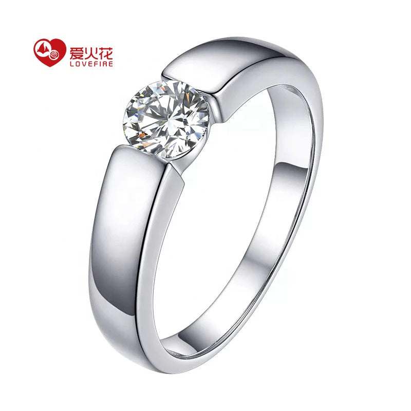 18k white gold 0.5 carat white D color round cut moissanite engagement 18k gold wedding ring