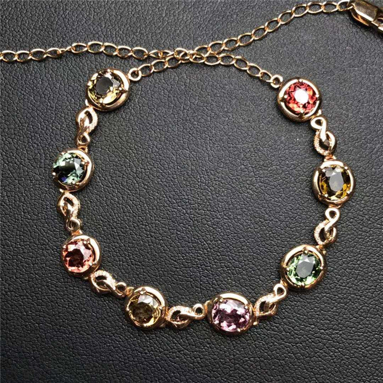 18k gold 4.1ct natural tourmaline chain bracelet