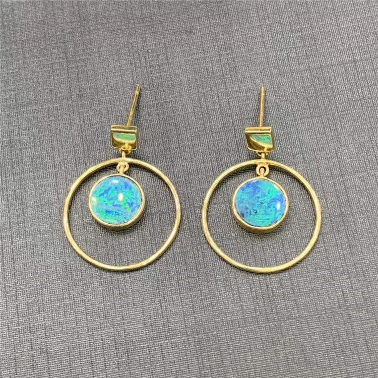 18K Gold natural colorful opal Statement Hoops Earrings