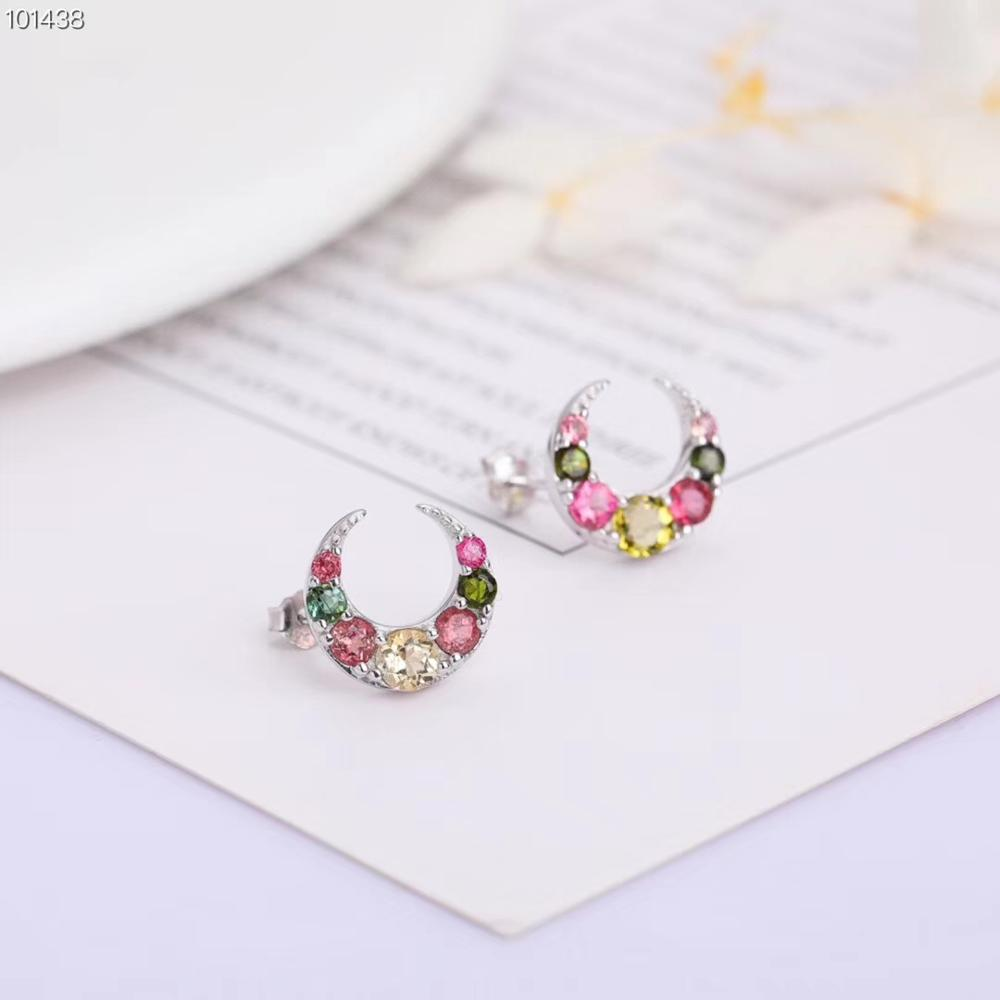 gemstone earrings jewelry wholesale Fashion natural stone tourmaline 925 sterling silver stud earring for women