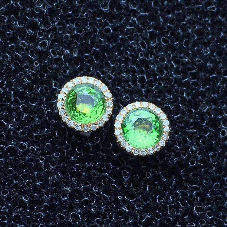 natural green tourmaline stud Earrings Saudi 18k Gold