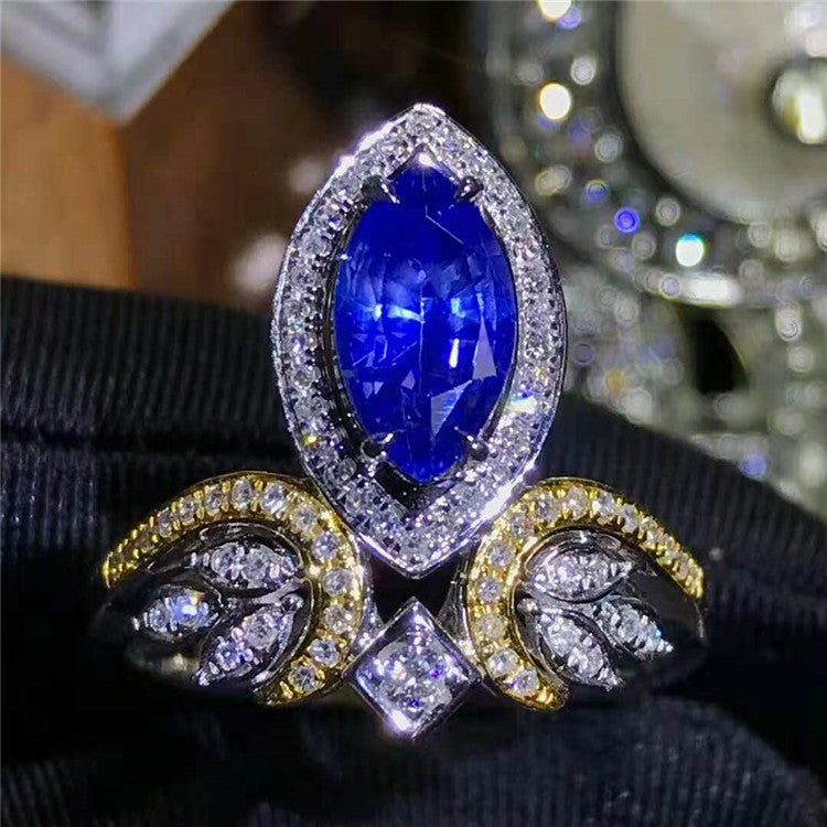 Brilliant Step Cut Marquise Shape Sumptuous Sapphire  Ring
